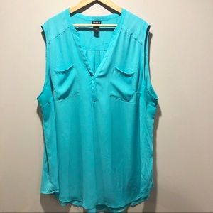 Torrid Sleeveless Teal  V-neck Blouse